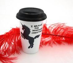 Travel Mug with Unicorn  Eco Friendly by LennyMud on Etsy, $20.00
