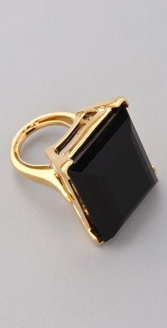 Kenneth Jay Lane    Large Polished Gold & Jet Ring