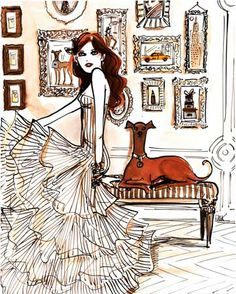 #izakzenou #fashionillustration #watercolor #fabulousfashion #trafficnyc #artistprints info@traffic-nyc.com #greyhound #henribendel