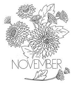 Vintage Flower-of-the-Month Transfer November embroider pattern