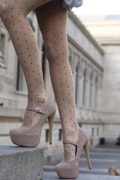 nude shoes//nude tights with polka dots