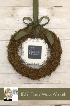 DIY Idea: Glue a few layers of floral moss to a wreath form for a perfectly green and unique wreath. Click through to see how @Live Laugh Rowe made hers!