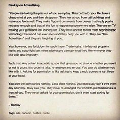 Banksy on advertising.