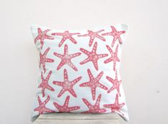 Throw pillow starfish print in coral pink / red   by EarthLab