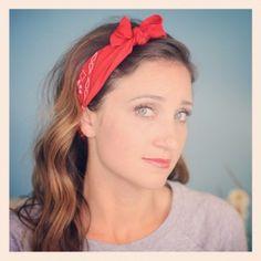 Bandana Bow Headband  plus 5 other ways to tie a bandana! #CuteGirlsHairstyles #CGHBandanaStyle
