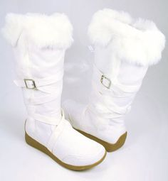 WHITE Strappy FURRY Winter BOOTS Moccasins Women VEGAN