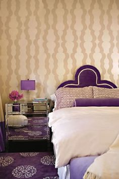 Purple bedroom on pinterest kissing ball master for Purple and taupe bedroom