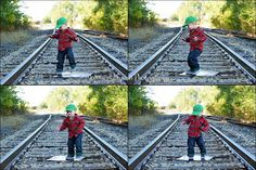 Super fun 2 year old boy photo shoot dancing on railroad tracks, red plaid Johnson Branch Photography
