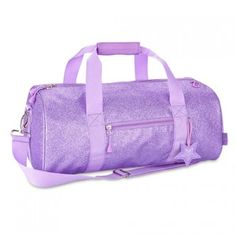 "This sparkalicious purple duffle bag by Bixbee is the must-have accessory for your little girl!  Great for dance, sports, or sleep-overs.  The bag measures 17"" wide x 9"" deep x 9"" high.  Features an adjustable over-the-shoulder strap, an exterior zip pock"