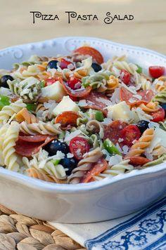 Pizza Pasta Salad 044(titled1) Tri Color Pasta Salad, Pizza Pasta Salad Recipes, Pasta Sides