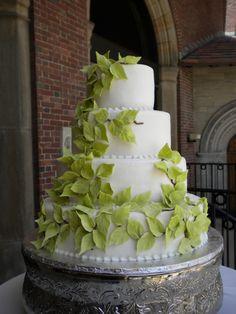Buttercream cake with gumpaste leaves
