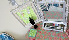 diy tween vanity and earring display from above ~This & more great DIY How-Tos at Fresh Idea Studio.com