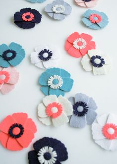 Molly's Sketchbook: Anemone Magnets - The Purl Bee - Knitting Crochet Sewing Embroidery Crafts Patterns and Ideas!