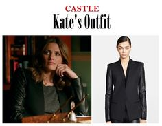 "On the blog: Kate Beckett's (Stana Katic) black blazer jacket with leather sleeves | Castle 704 - ""Child's Play"" #tvstyle #tvfashion #outfits #fashion"