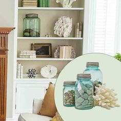 decor, agat geod, ball jars, living rooms, idea, gift, agat bookend, hous, beach