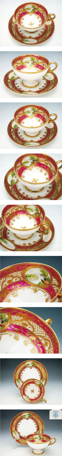 Old Noritake pedestal cup and saucer  1908