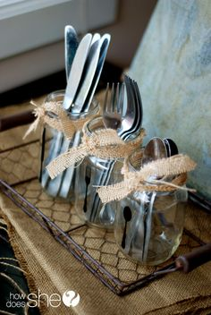 silhouett, holiday centerpieces, thanksgiving centerpieces, utensils in mason jars, mason jar party decorations, party centerpieces, parti