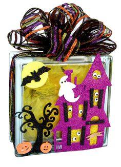 Nicole™ Crafts Haunted House Glass Block #glassblock #halloween