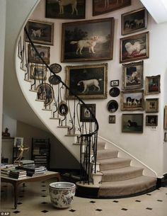 The staircase at Brooke Astor's Westchester estate--love the antique dog paintings! frame, galleri, stairway, gallery walls, dog portraits, dog pictures, spiral staircases, dog art, dog paintings
