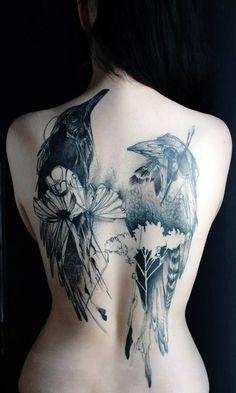 NaNoWriMo inspiration tattoo idea, bird tattoos, tattoo sketches, tattoo artists, back tattoos, crow, birds, tattoo ink, ravens