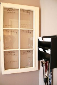 """Vintage window. Daily """"to do"""" list."""