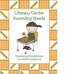 Literacy Center Recording Sheets