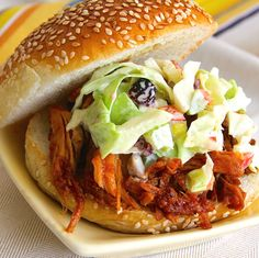 Slow Cooker Pulled Pork uses two ingredients, lean pork and root beer, with BBQ sauce mixed in at the end. The pork is tender, with just a hint of sweetness. #AllrecipesAllstars @Allrecipes