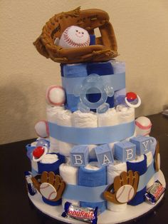 Baseball diaper cake. @Bernice Keetch Oregel, this is what I want for my future surprise boy baby shower! :)