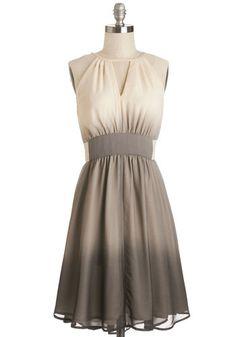 In Gradient Demand Dress - Tan / Cream, Ombre, Cutout, Party, A-line, Sleeveless, Spring, Better, Long, Chiffon, Woven, Grey