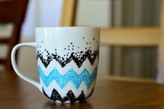 Unique Coffee Mug Chevron Design Coffee Mug uniqu coffe, chevron design, mugs design, design coffe, unique coffee mugs, chevron pottery, homemad coffe