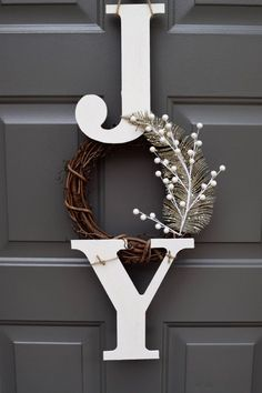 Joy sign joy wreath christmas sign christmas door hanger