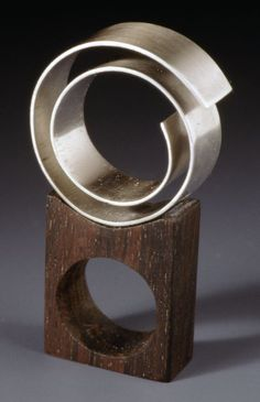 artwork by Satomi Kawai titled Ebony and  Silver Combination Ring: Spiral