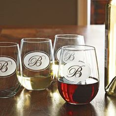 Monogrammed Stemless Wine Glasses, Personalized Glasses | Solutions