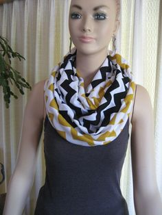 Steelers Saints Pirates Team Colors Black and Gold Chevron Infinity Scarves by ChevronScarf on Etsy