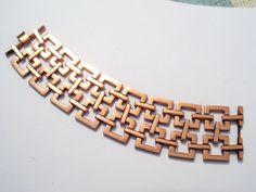 Wide Vintage RENOIR Copper Modernist Geometric Square Link Bracelet #Renoir