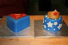 superman and wonder woman cakes for twins birthday party