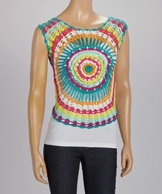 Look what I found on #zulily! Green & Pink Circle Crochet Tank Top by MAK #zulilyfinds