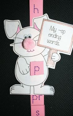 Classroom Freebies: Bunny Slider For -OP Ending Words
