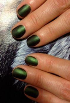 matte metallic dark green nails.