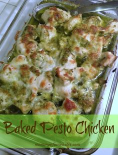 This recipe for baked pesto chicken is a hit with adults and kids alike. It's super fast to put together and cook, and perfect for busy weeknights. dinner, bake pesto, chicken and pesto recipes, baked pesto chicken, chicken breasts, super fast, baked chicken, busi weeknight, chicken pesto bake