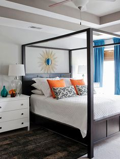 house tours, cozy bedroom, bedroom colors, master bedrooms colors, bedside tables, white bedding, colors for master bedroom, black furniture bedroom ideas, budget decorating