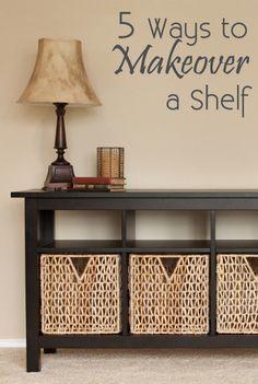 5 Ways to Makeover a Shelf beats, furnitur makeov, nail polish, baskets, shelv, cords, cheap furniture stores, entryway, decor idea