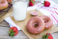 i need to make these! baked, whole grain, strawberry donuts :)