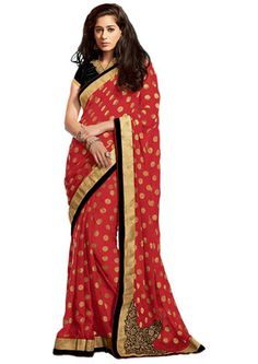 Ethnic Basket Georgette and Brasso Maroon Colored Saree.With Blouse