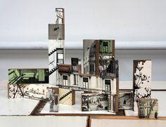 decoupage photos of buildings on blocks