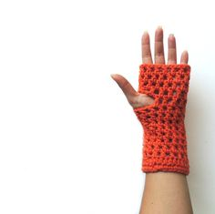 Fingerless gloves Fingerless mittens Orange Crochet by JPwithLove, $21.00