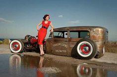 Red dress car, rat rods, dreams, dress, hotrod, ratrod, pinup, hot rod, rats