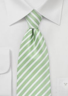 Mint Green and White Striped Kids Tie