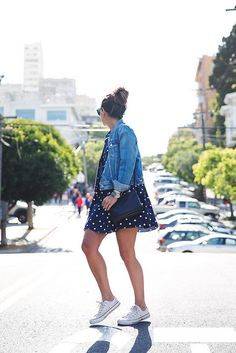 summer dresses, road trip outfit summer, womens denim jacket outfit, polka dots, denim jacket outfit summer, rome outfit, jean jackets, san francisco outfits