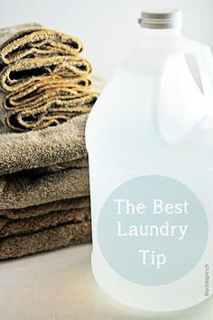 The Best Laundry Tip 1/4 cup vinegar to every load to keep clothes fresh and laundry machine mildew free. Says to add vinegar to softener slot when washing towels, linens etc. --I just dump some in the load and the clothes come out much fresher, which is great since we use unscented laundry detergent and fabric softener